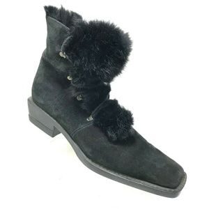 Stuart Weitzman Boots Suede Fur Lace Up Ankle Boot